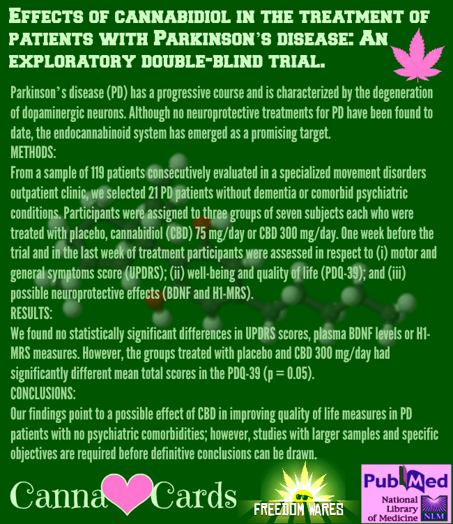 Effects of cannabidiol in the treatment of patients with Parkinson's disease An exploratory double-blind trial. 2